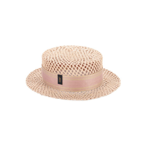 Paper Straw Pink Boater Hat
