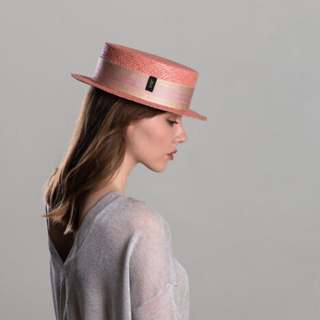 Pink straw boater hat