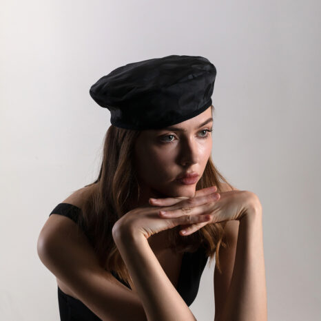 Black jaqcuard french beret