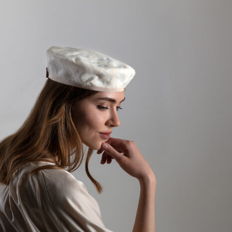 SUMMER COTTON BROCADE CAMOUFLAGE IVORY BERET