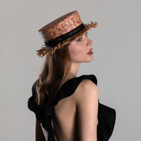 FLORAL PRINT STRAW BOATER HAT